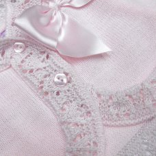 MC736B-Pink: Baby Girls Knitted Bolero Cardigan With Bow (9-24 Months)