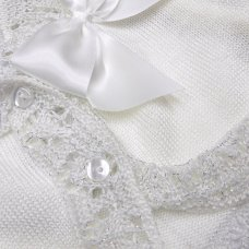 MC736B-White: Baby Girls Knitted Bolero Cardigan With Bow (9-24 Months)