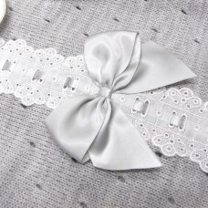MC744-Grey: Baby Knitted Romper With Bow & Lace (0-9 Months)