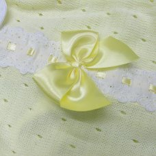 MC744-Lemon: Baby Knitted Romper With Bow & Lace (0-9 Months)