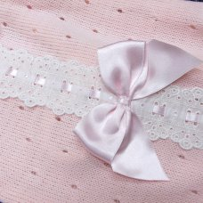 MC744-Pink: Baby Knitted Romper With Bow & Lace (0-9 Months)