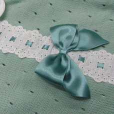 MC744-Sage: Baby Knitted Romper With Bow & Lace (0-9 Months)