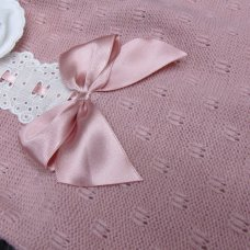 MC764-Dusky Pink: Baby Knitted 2 Piece Set With Bow & Lace (0-9 Months)