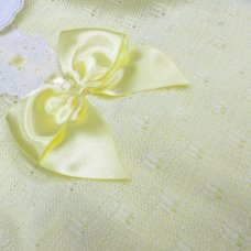 MC764-Lemon: Baby Knitted 2 Piece Set With Bow & Lace (0-9 Months)