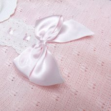 MC764-Pink: Baby Knitted 2 Piece Set With Bow & Lace (0-9 Months)