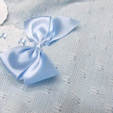 MC764-Sky: Baby Knitted 2 Piece Set With Bow & Lace (0-9 Months)