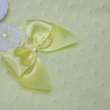 MC765-Lemon: Baby Knitted Dress With Bow & Lace (0-9 Months)