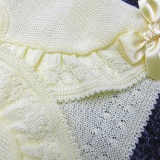 MC775B-Lemon: Baby Girls Knitted Bolero Cardigan With Bows (9-24 Months)