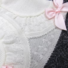 MC775B-White: Baby Girls Knitted Bolero Cardigan With Bows (9-24 Months)