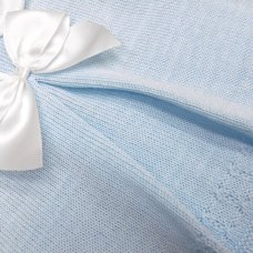 MC776-Sky: Baby Knitted 2 Piece Set With Bow (0-9 Months)