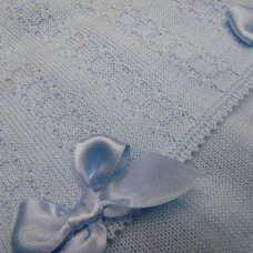 MC777-Sky: Baby Knitted 2 Piece Set With Double Bows (0-9 Months)