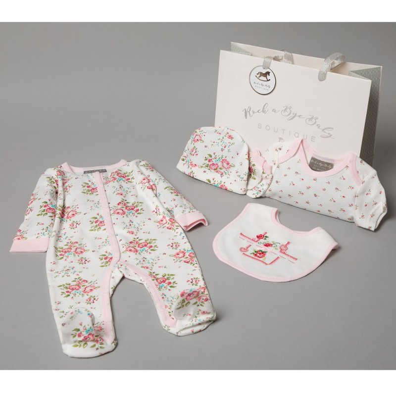 AQMT4C: Baby Girls Floral 6 Piece Mesh Bag Gift Set (NB-6 Months)