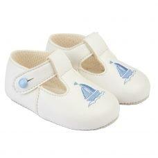B119: Baby Boys Soft Soled Shoe- White/Sky (Shoe Sizes: 0-4)