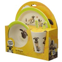 BAMB111: Eco-Friendly Shaun The Sheep Biodegradable, Reusable Bamboo Plate/Cutlery Set