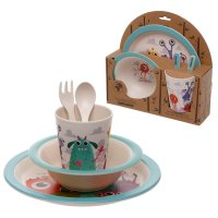 BAMB44: Eco-Friendly Monsters Biodegradable Bamboo Plate/Cutlery Set