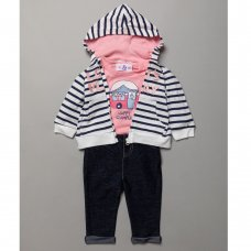 BB0295-3-9: Baby Girls Lets Play Hooded Jacket, Bodysuit & Trouser Set (3-9 Months)