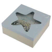 BBOX01: Twinkle Twinkle Star Wooden Baby Boy Keepsake Box