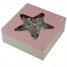 BBOX02: Twinkle Twinkle Star Wooden Baby Girl Keepsake Box