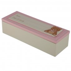 BBOX04: Date of Birth Wooden Baby Girl Keepsake Box