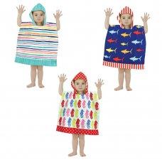 BIT192548: Mini Poncho Pal Hooded Beach & Bath Robe  (18 Months- 3 Years)