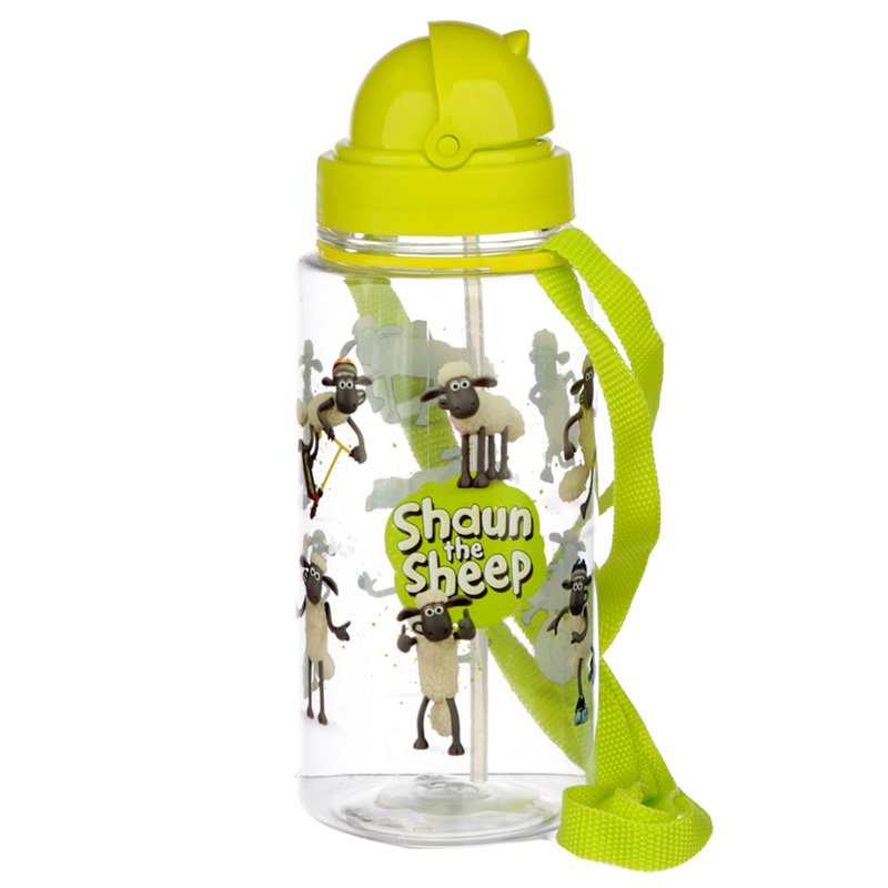 BOT49: 450ml Childrens Water Bottle with Straw & String- Shaun The Sheep