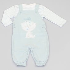 M1497: Baby Boys Bear Cord Dungaree & Top Outfit (0-9 Months)