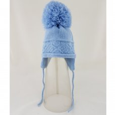 CL4202-S-1: Baby Cross Knit Big Pom Hat- Sky (0-6 Months)