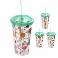 CUP05: Zoo Animals Plastic 500ml Double Walled Reusable Cup with Straw and Lid