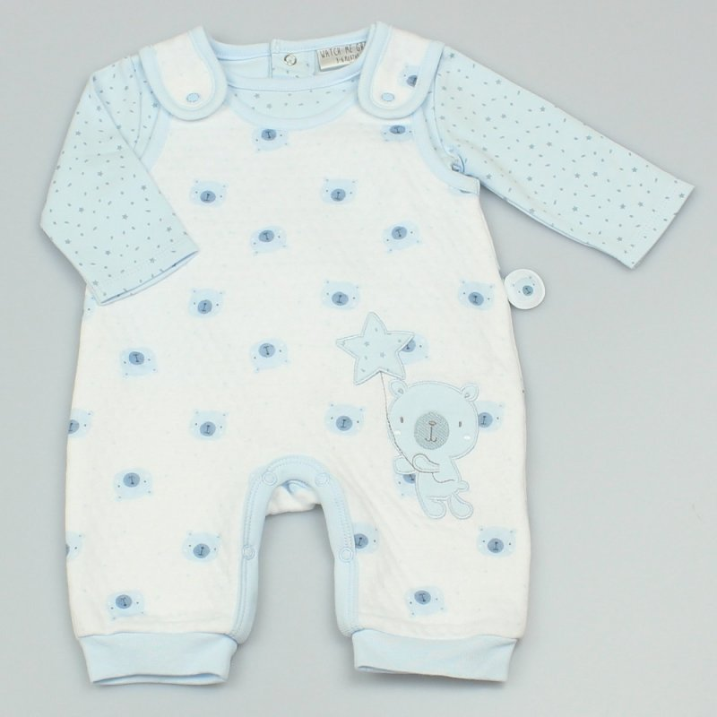 GF1044: Baby Boys All Over Print Quilted 2 Piece Outfit (0-9 Months)
