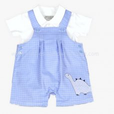 J1520: Baby Boys Dino Dungaree & Polo Top Set (0-9 Months)