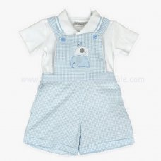 J1523: Baby Boys Elephant Dungaree & Polo Top Set (0-9 Months)