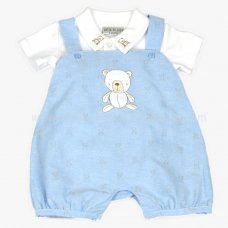 J1526: Baby Boys Teddy Dungaree & Polo Top Set (0-9 Months)