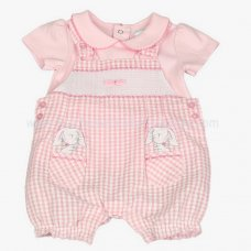J1529: Baby Girls Bunny Smocked Dungaree & Top Set (0-9 Months)