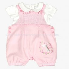 J1535: Baby Girls Unicorn Dungaree & Top Set (0-9 Months)