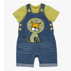 J2631: Baby Boys Lion Denim Dungaree & T-Shirt Outfit (3-12 Months)