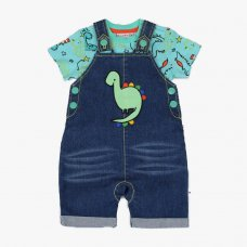 J2633: Baby Boys Dino Denim Dungaree & T-Shirt Outfit (3-12 Months)