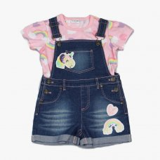 J4643: Infant Girls Unicorn T-Shirt & Denim Dungaree Outfit (2-6 Years)