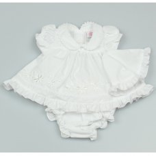GF0001: Premature Baby Girls White 3 Piece Dress Set with Hat