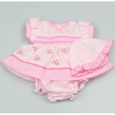 GF0002: Premature Baby Girls Smocked 3 Piece Dress Set with Hat
