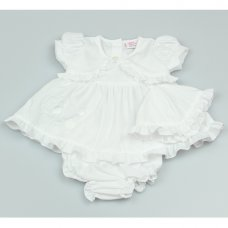 GF0230: Premature Baby Girls White 3 Piece Dress Set with Hat