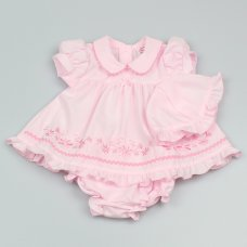 GF0231: Premature Baby Girls Pink 3 Piece Dress Set with Hat