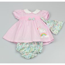 GF1019: Baby Girls 3 Piece Smocked Dress, Floral Pant & Bandanna Set  (0-9 Months)
