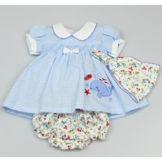 GF1022: Baby Girls 3 Piece Smocked Dress, Floral Pant & Bandanna Set  (0-9 Months)