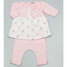 GF1047: Baby Girls All Over Print Quilted Dress & Legging Outfit (0-9 Months)
