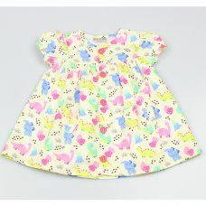 GF1088: Baby Girls Dino All Over Print Lined Dress (1-2 Years)
