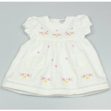 GF3010: Baby Girls Lined Dress With Flower Embroideries (1-2 Years)