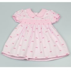 GF3015: Baby Girls Lined All Over Print Dress With Smocking  (1-2 Years)