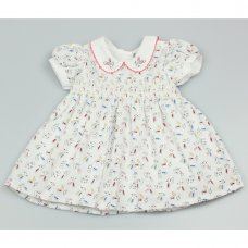 GF3016: Baby Girls Lined All Over Print Dress With Smocking  (1-2 Years)