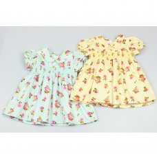 GF3018: Baby Girls Lined All Over Print Dress With Smocking  (1-2 Years)