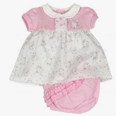J1531: Baby Girls Bunny AOP Dress & Pant Set (0-9 Months)